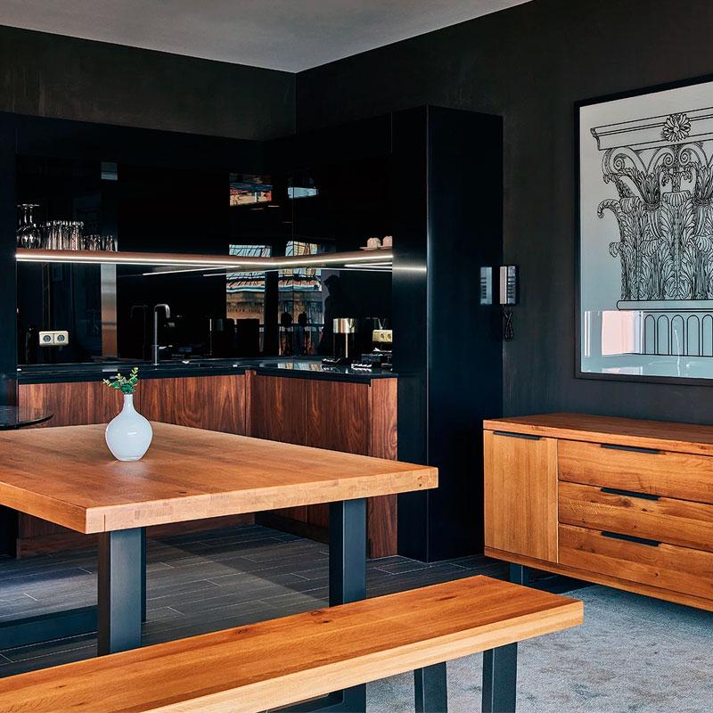 mesa industrial madera hierro