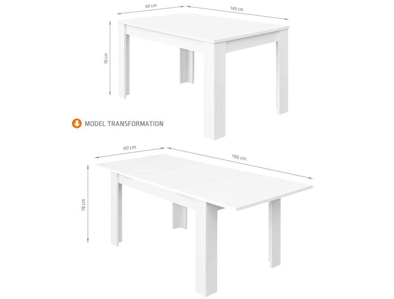 tamaño mesa de comedor comifort