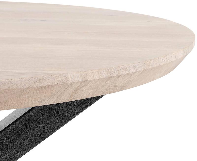 Mesa redonda madera maciza para comedor y salon en roble y acero
