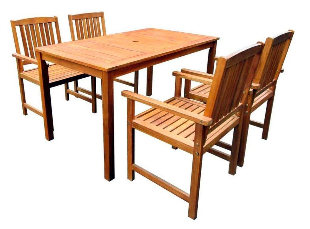 mesa de madera en acacia festnight 4 personas