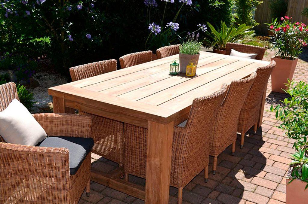 bomey mesa madera para jardin o terraza